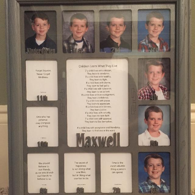 School Years Picture Frame - Personalized With Any Name - (Charcoal ...